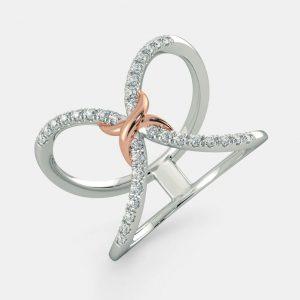 انگشتر طلا زنانه مدل لانتان با سنگ الماس