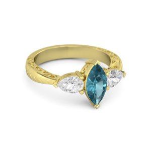 انگشتر طلا زنانه مدل فانت با سنگ الماس