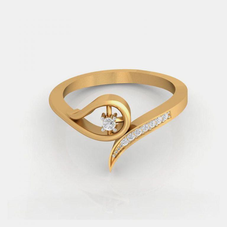 انگشتر طلای زنانه مدل آنجلیک با سنگ الماس