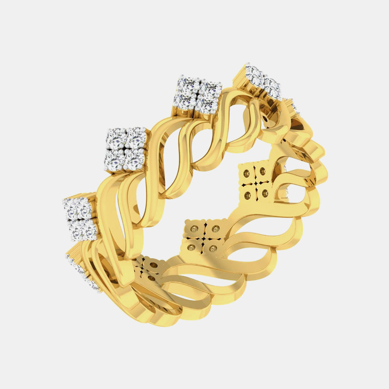 انگشتر طلای زنانه مدل سانج با سنگ الماس